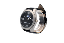 BMW Motorrad Mens Watch Stainless Steel Black Leather Strap / Black Face