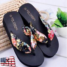 Women Summer Wedge Platform Thong Flip Flops Sandals Beach Floral Slippers Shoes