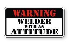 Warning - Welder With Attitude Hard Hat / Helmet Decal Sticker Vinyl Label Weld