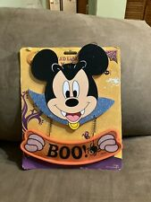 Halloween Disney Mickey Mouse Led Light Up Trick or Treat Wooden Sign Boo New