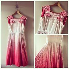 """True Vintage 1950s Red Polka Dot Cotton Full Skirt Dress UK8 10 W28"""""""