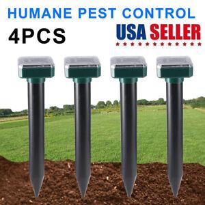 4 Pack Solar Power Ultrasonic Mice Gopher Mole Pest Snake Repellent Repeller