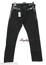 A|X ARMANI EXCHANGE J66 LOW RISE BLACK WITH SHINY PATCH JEANS STRAIGHT NEW 30