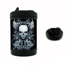 Black Metal Car Ashtray Skull D3