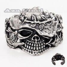 Men's Huge Heavy Pirate Caribbean Skull Biker Stainless Steel Bangle Bracelet