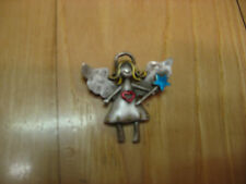 Pewter Angel Pin with Gold Hair, Blue Star Wand & Red Heart on Dress-JJ on back