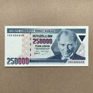 TURKEY 250000 Lira Banknote. Turkish Currency. Mustafa Kemal Ataturk Paper Money