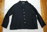 Bryn Walker Button Up Shirt Lagenlook Black 100% Tencel Women's Size Small