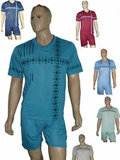 Herren Schlafanzug kurz Pyjama Shorty trendig Baumwollmischung Gr.M-XXXL leicht