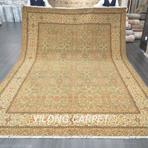 Yilong 9x12ft Handmade Wool Carpet Gold All-over Eco Friendly Area Rug P2060