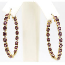 """4.56 Ct Pink Sapphire and diamond Hoop In & Out 14k Yellow Gold 1.5"""" wide"""