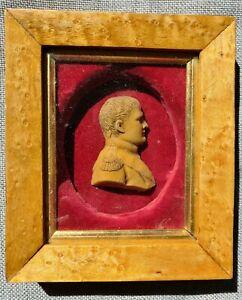 ANTIQUE NAPOLEON BONAPARTE WAX RELIEF PORTRAIT 19TH CENTURY FRENCH MILITARY 1800