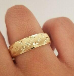 6MM Men's Wedding Band Ring 14k Solid Yellow Gold Diamond Cut