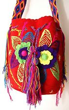 Wayuu Mochila Purse Red with Flower