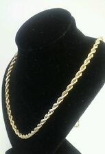 "14k YELLOW GOLD ROPE NECKLACE LINK 24"" CHAIN"