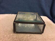Leaded Stained Glass Trinket Jewelry Box W/Etched Iris Design