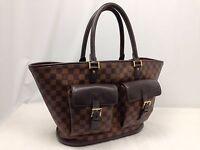 """Authentic Louis Vuitton Manosque Damier Ebene Tote Bag PVC Brown 6C220450"""""""