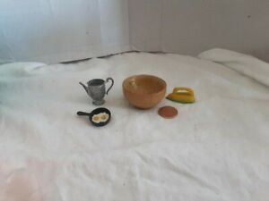 Vintage Doll House Accessories Coffeepot/Eggs in Frying Pan/ Iron/Woodbowl