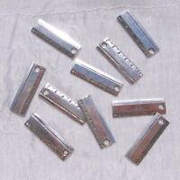 LOT 10 BRELOQUES REGLE ECOLE ECOLIER 24MM x 7MM PERLES METAL ARGENTE 24x7mm *B49