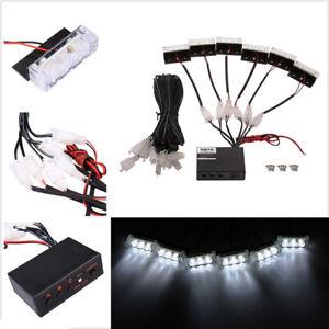 12V Universal White 18 LED Emergency Hazard Warning Flash Strobe Light Bar Kits