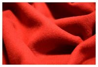 "Red Melton Wool Coat Jacket Weight Plush Textured Apparel 80/20 Poly Fabric 60""W"
