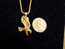 bling gold plated eagle bird animal pendant charm rope chain hip hop necklace
