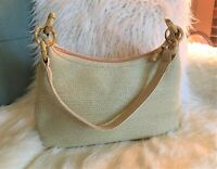 Talbots Ivory Hobo Straw/Bamboo Purse Tropical Lining/Cruise/Beach Vacation NWOT