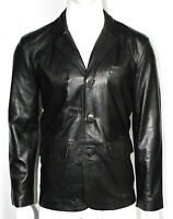 Men's Gents Blazer Black 3 Button Classic Tailored Italian Leather Jacket Coat