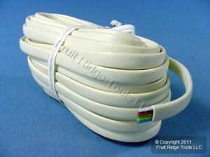 Leviton Ivory 25' Flat Phone Line Cord 6-Wire Telephone C2684-25I
