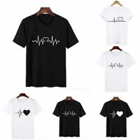 Black Women Ladies Short Sleeve T Shirt Tops Blouse Heart Printed Casual Tee