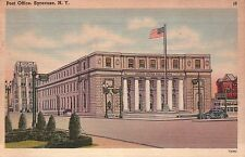 Post Office, Syracuse, New York, American Flag, Car, NY --- Old Vintage Postcard