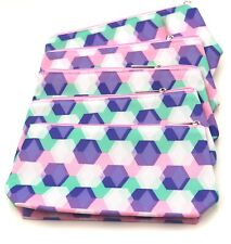 Lot of 8: Clinique Cosmetic Makeup Bag Zipper Pouch with Diamond Print