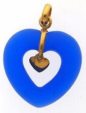 New 22K Yellow Gold Heart Pendant With Semi Precious Blue Stone Valentine Gift