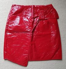 MISSGUIDED size 8 mini RED PVC SKIRT bow party wear