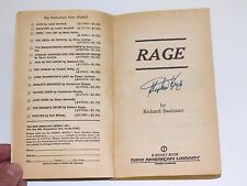Stephen King Signed RAGE Book Richard Bachman First Edition 1977 Paperback w/COA