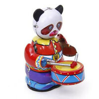Cute Vintage Collectible Gifts Retro Style Wind Up Panda Drummer Tin Toys