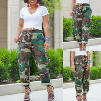 Women's Loose Camouflage High Waist Multi-pocket Overalls Pants Trousers Denim