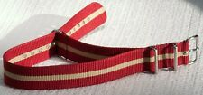 LAST ONES RARE TYPE! Red Sand Bond 18mm nylon military strap red & sand stripes