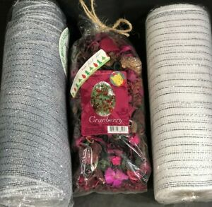 Christmas Wreath Ribbon 2 Packs & 1 Pack Of Potpourri Cranberry Scent Purple New