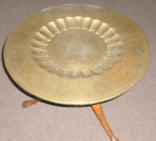 Vintage Eastern Engraved Brass Tray Table Top with entwined wooden legs