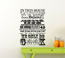 In This House We Do Geek Wall Decal Gift Vinyl Sticker Decor Quote Poster 55me