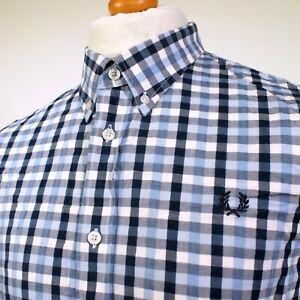 "Fred Perry Herringbone Gingham Shirt (XL/2XL/46"" - Glacier) Mod 60's Casuals"