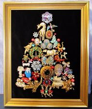 """Vintage Jewelry Christmas Tree One of a Kind Animals Framed 16"""" x 13"""" (V)"""