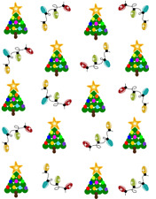 Simple Dot Christmas Trees and Lights  Waterslide Nail Decals/Nail art