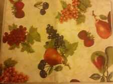 "PEVA Vinyl Tablecloth 60"" Round, (seats 4 ppl) FRUITS ON BEIGE by BH"