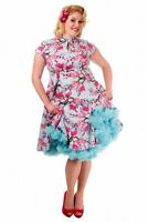 Banned 50's Blue Pink Cherry Blossoms Retro Vintage Swing Women Rockabilly Dress