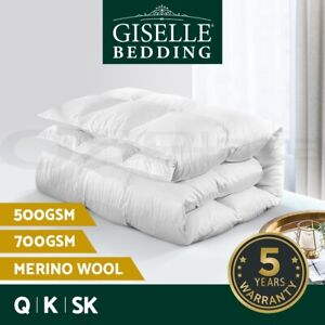 Giselle Wool Quilt Queen 500/700GSM Australian Merino Down Doona Summer All Size