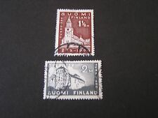 *FINLAND, SCOTT # 156/157(2), 11/2m+2m. VALUES 1929 FOUNDING OF TURKU ISSUE USED