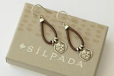 "Silpada NEW Sterling Silver Brown Leather ""Prairie Girl"" Disc Earrings W2179"