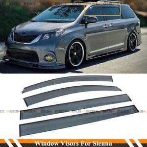 JDM PREMIUM LOW PROFILE SMOKE WINDOW VISOR W/ CLIPS FOR 2011-2020 TOYOTA SIENNA